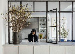 Separador de cocina con cristal